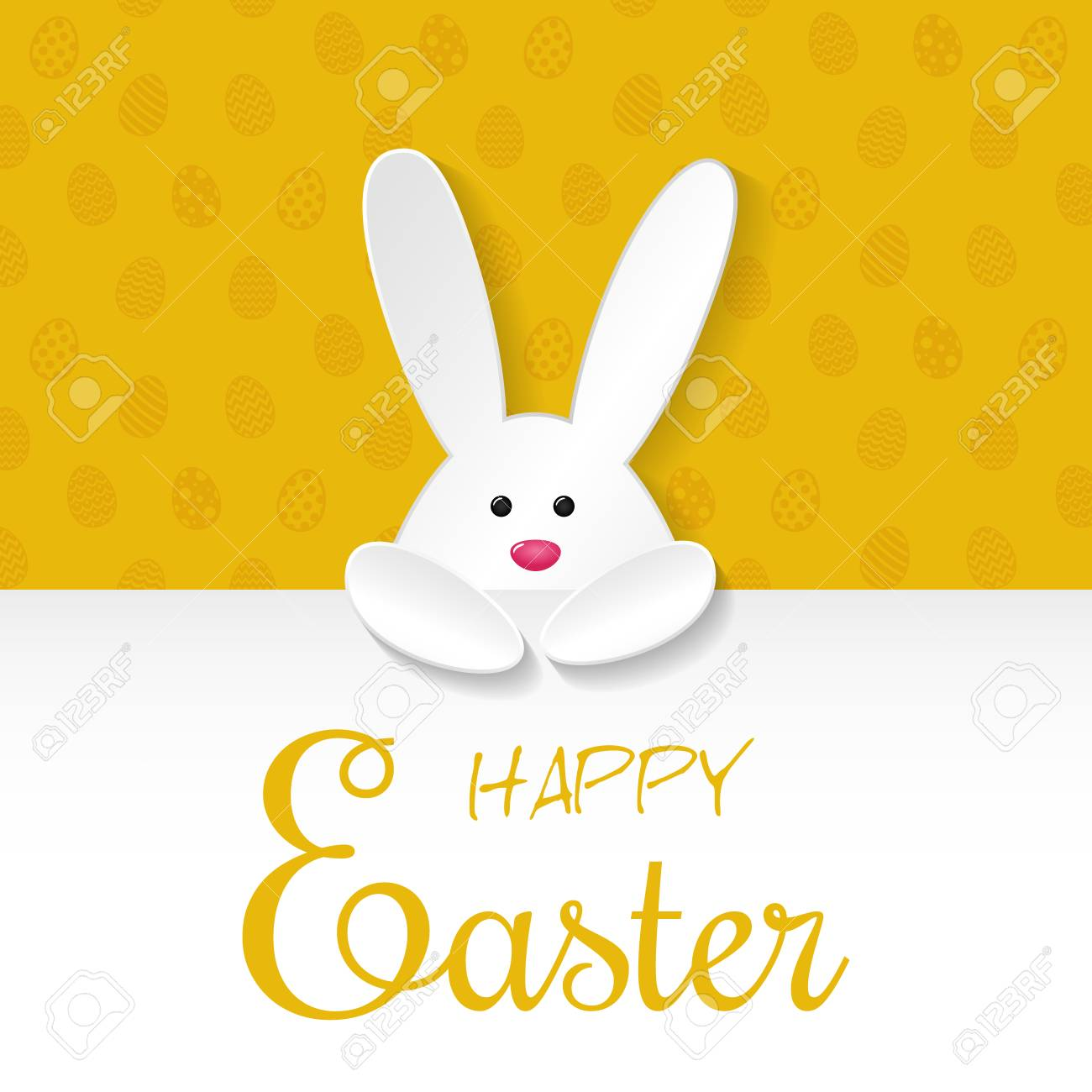 Easter Banner With Paper Cut Bunny And Wishes Vector Illustration Royalty Free Cliparts Vectors And Stock Illustration Image 96826614