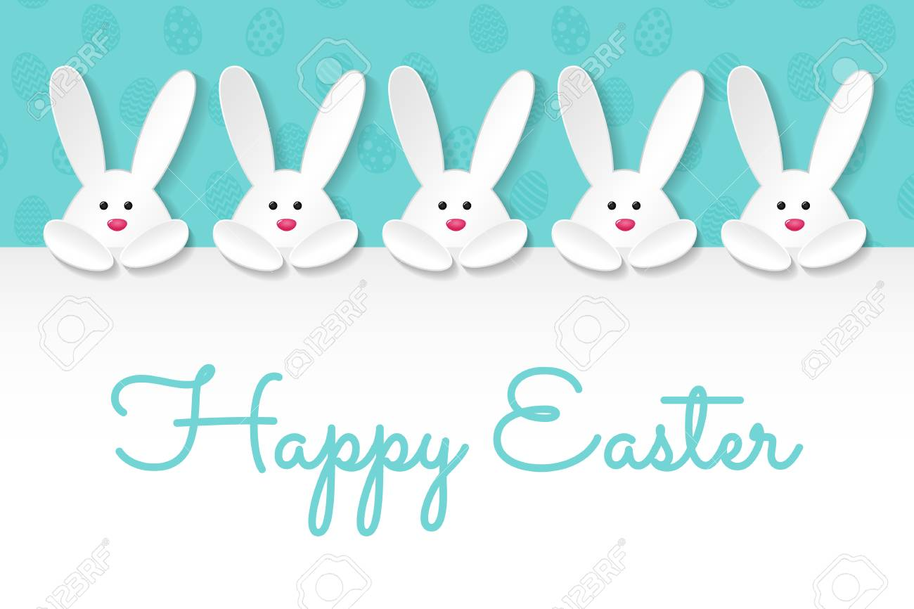 Easter Banner With Paper Cut Bunnies And Wishes Vector Royalty Free Cliparts Vectors And Stock Illustration Image 97094452