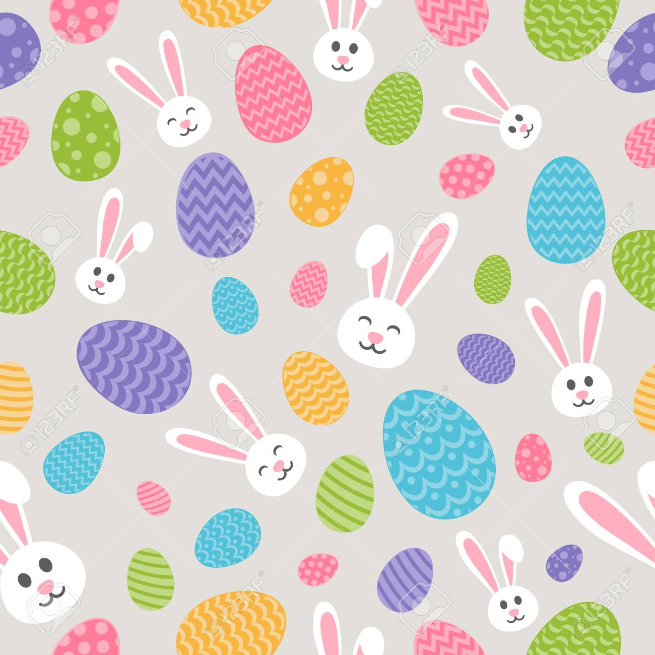 concept of easter wallpaper with bunnies and eggs seamless background