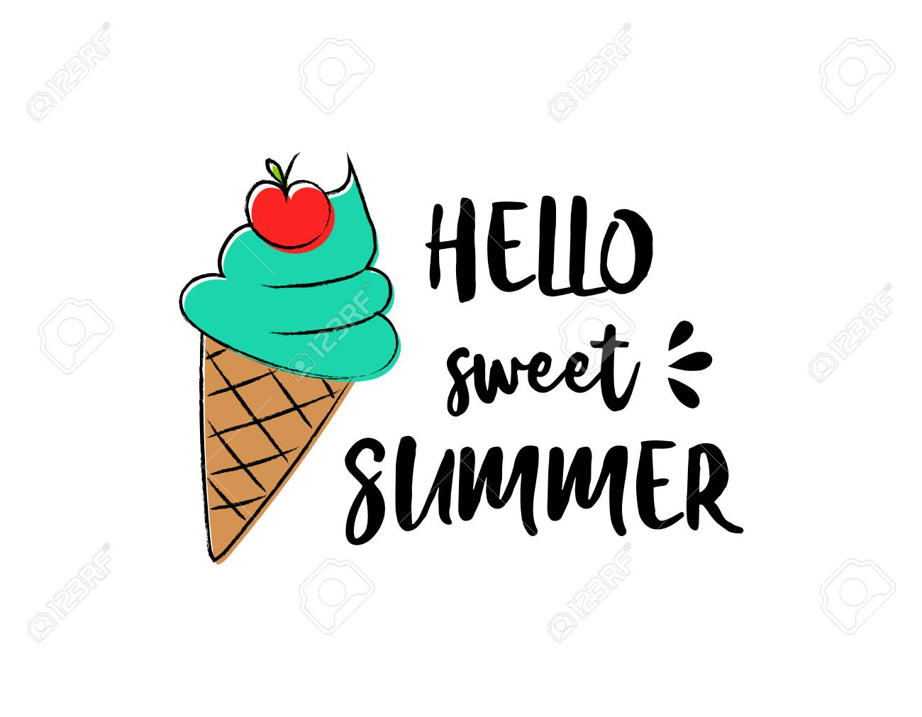Ice cream. Summer poster - hand drawn icon with funny text. - 100973115