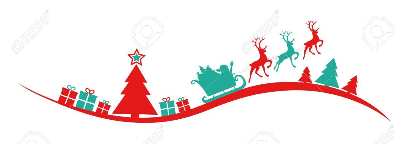 Christmas Banner.Panoramic Christmas Banner With Silhouette Of Christmas Tree