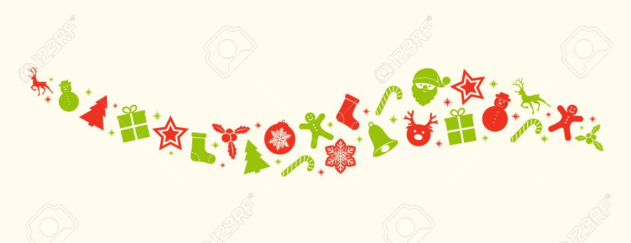 Panoramic Christmas header with red and green icons. Vector.