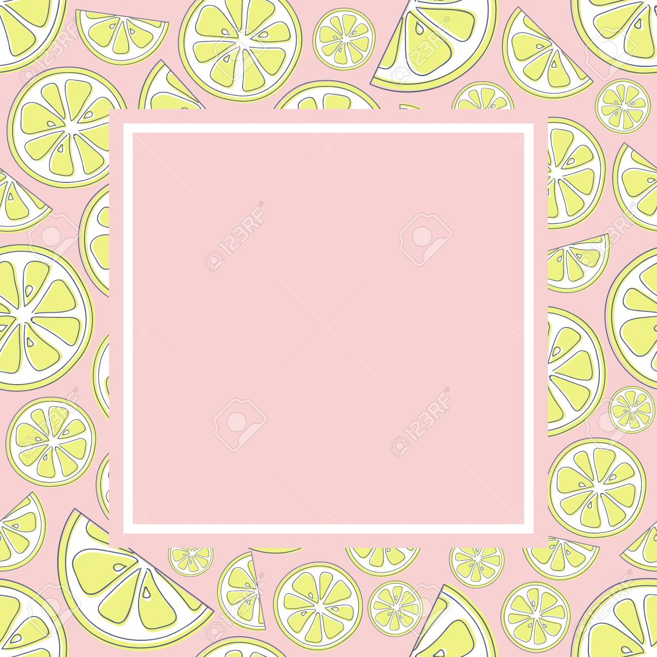 Pastel Coloured Background In Retro Style With Cute Lemons Vector
