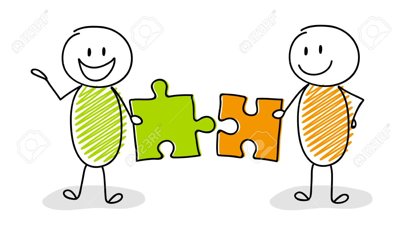 Happy stickman setting up puzzles - business concept. Vector. - 106077225