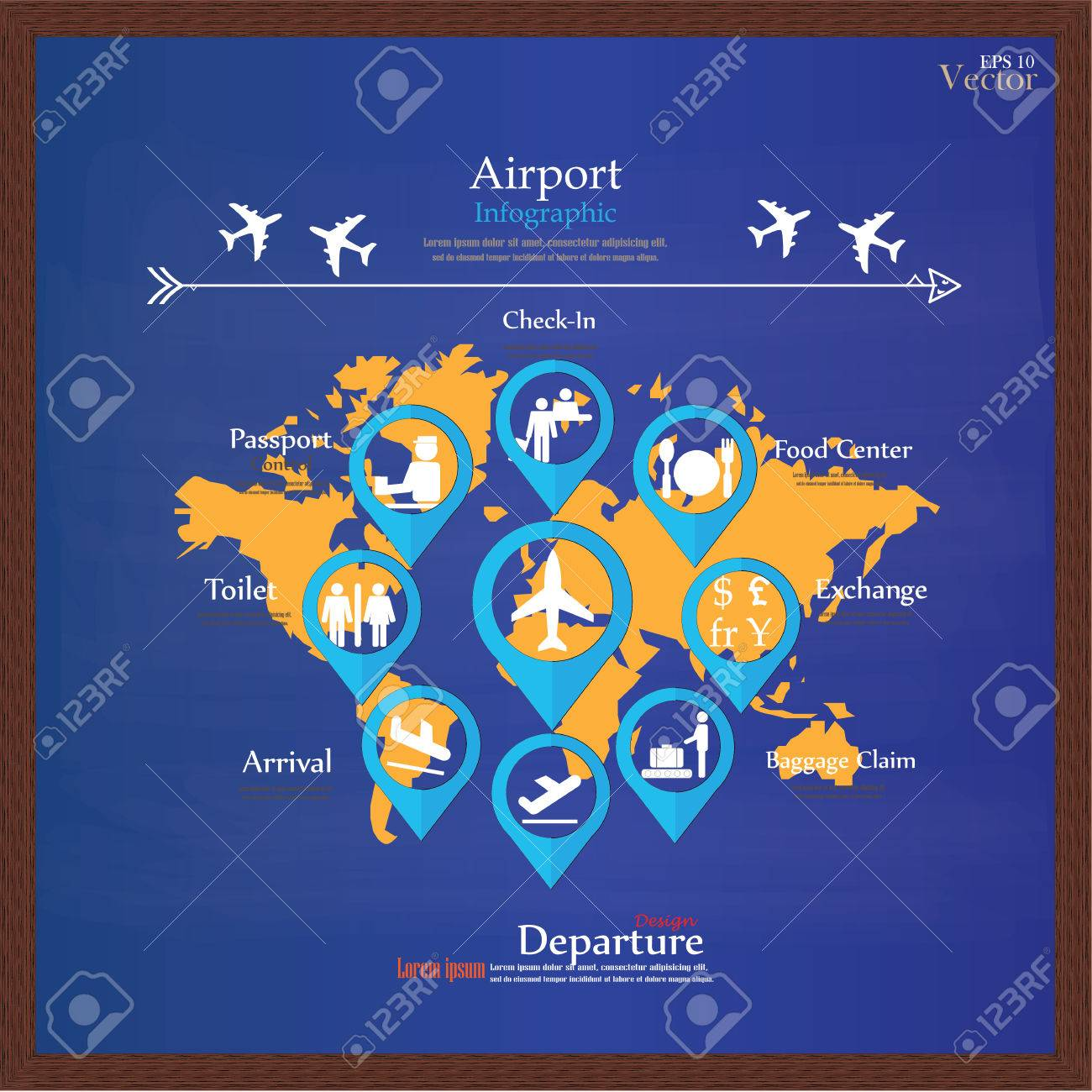 Airport business infographic presentation template concept design airport business infographic presentation template concept design on world map and airport service iconsrport gumiabroncs Images
