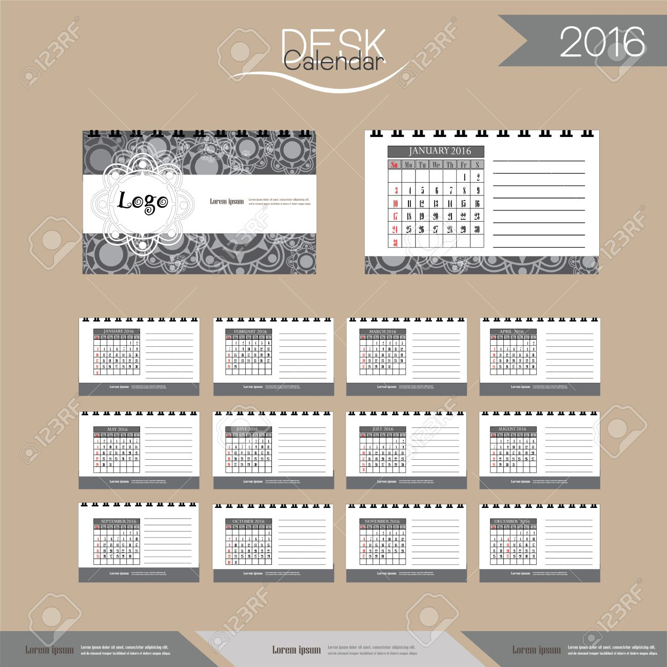2016 Desk Calendar2016 Calendar Vector Design Template With