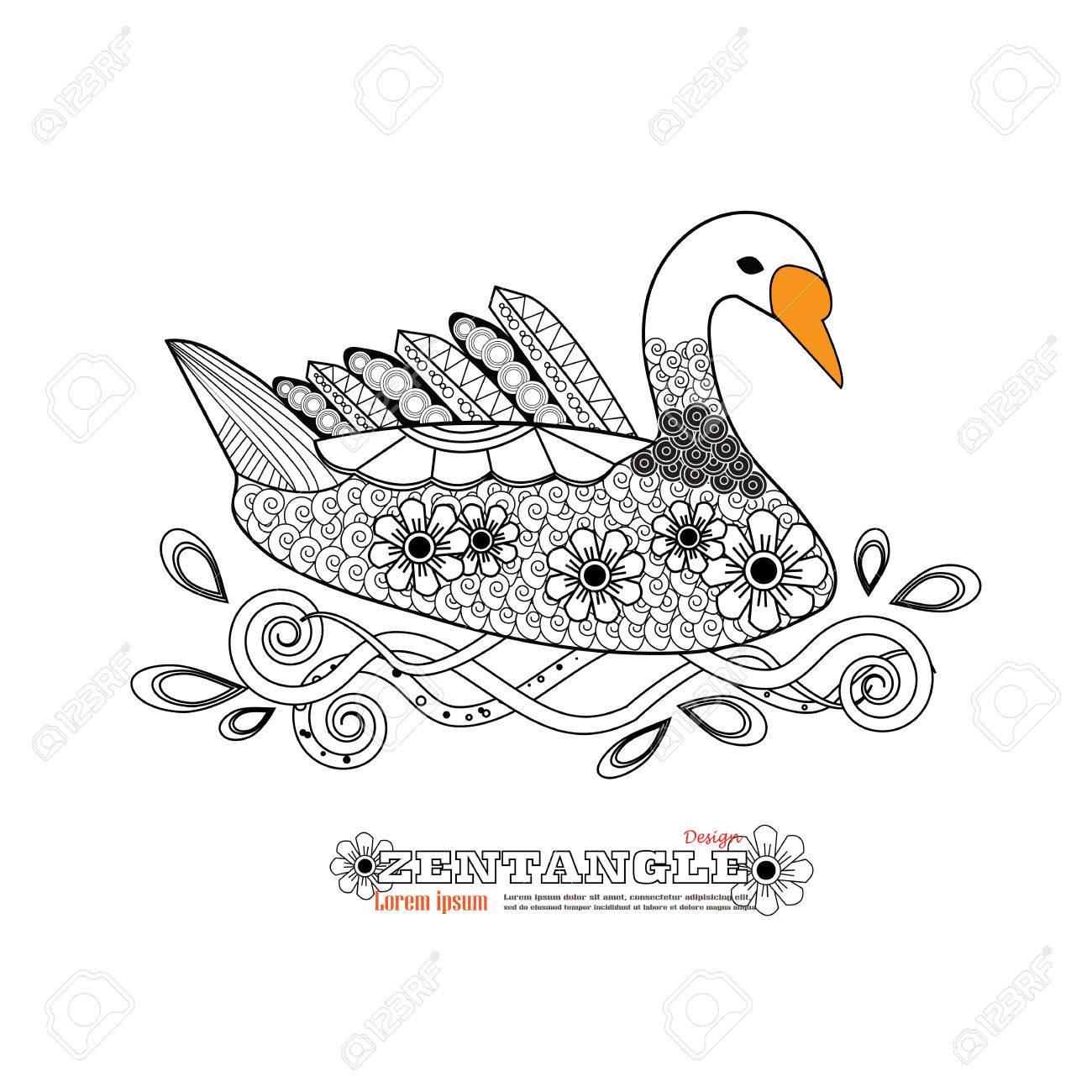 Hand Drawing Artistic Swan.zentangle Tribal Style, Ethnic Ornamental ...
