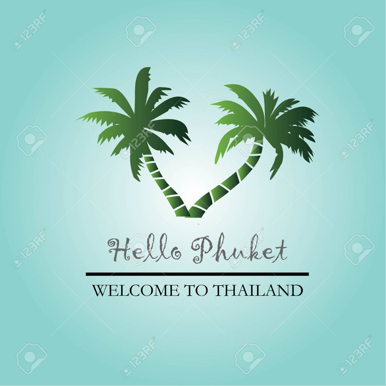 template of travel phuket thailand with coconut tree vector
