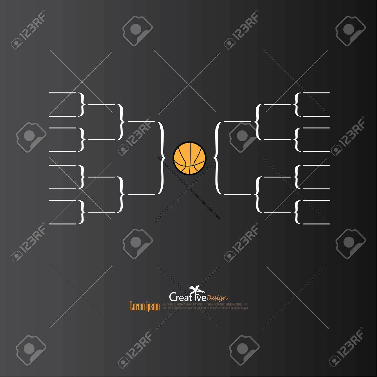 blank basketball tournament bracket on chalkboard vector illustration