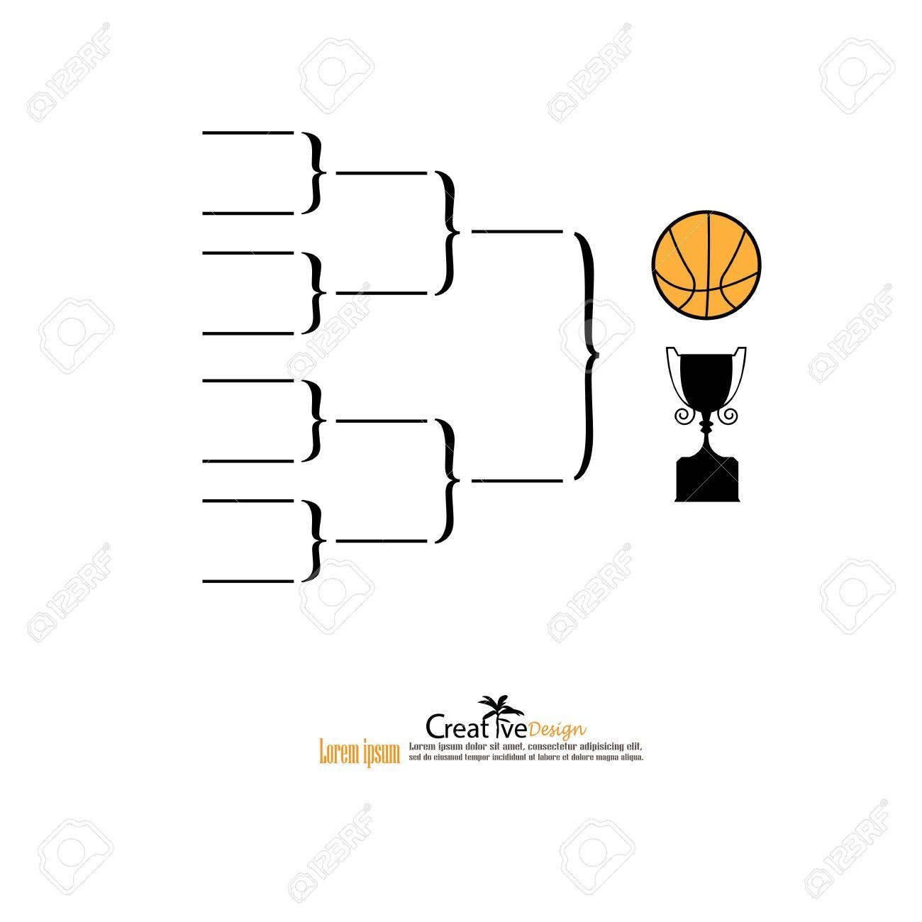 blank basketball tournament bracket on white background vector