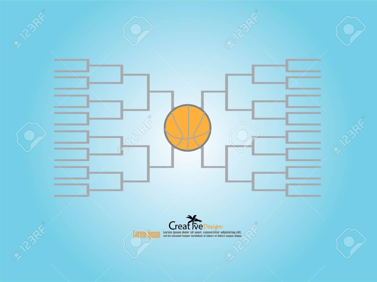 Blank Basketball Tournament Bracket Template. Royalty Free Cliparts ...
