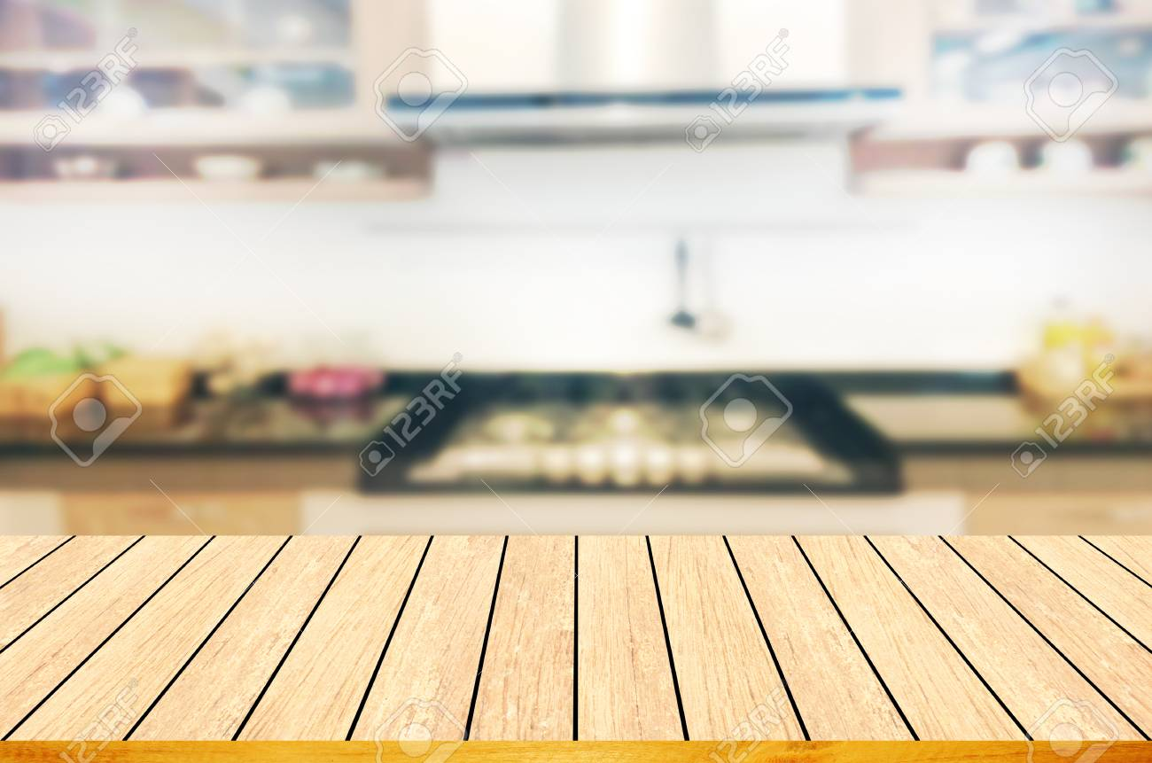 Empty Wooden Table And Blurred Kitchen Backgroundcan Be Used
