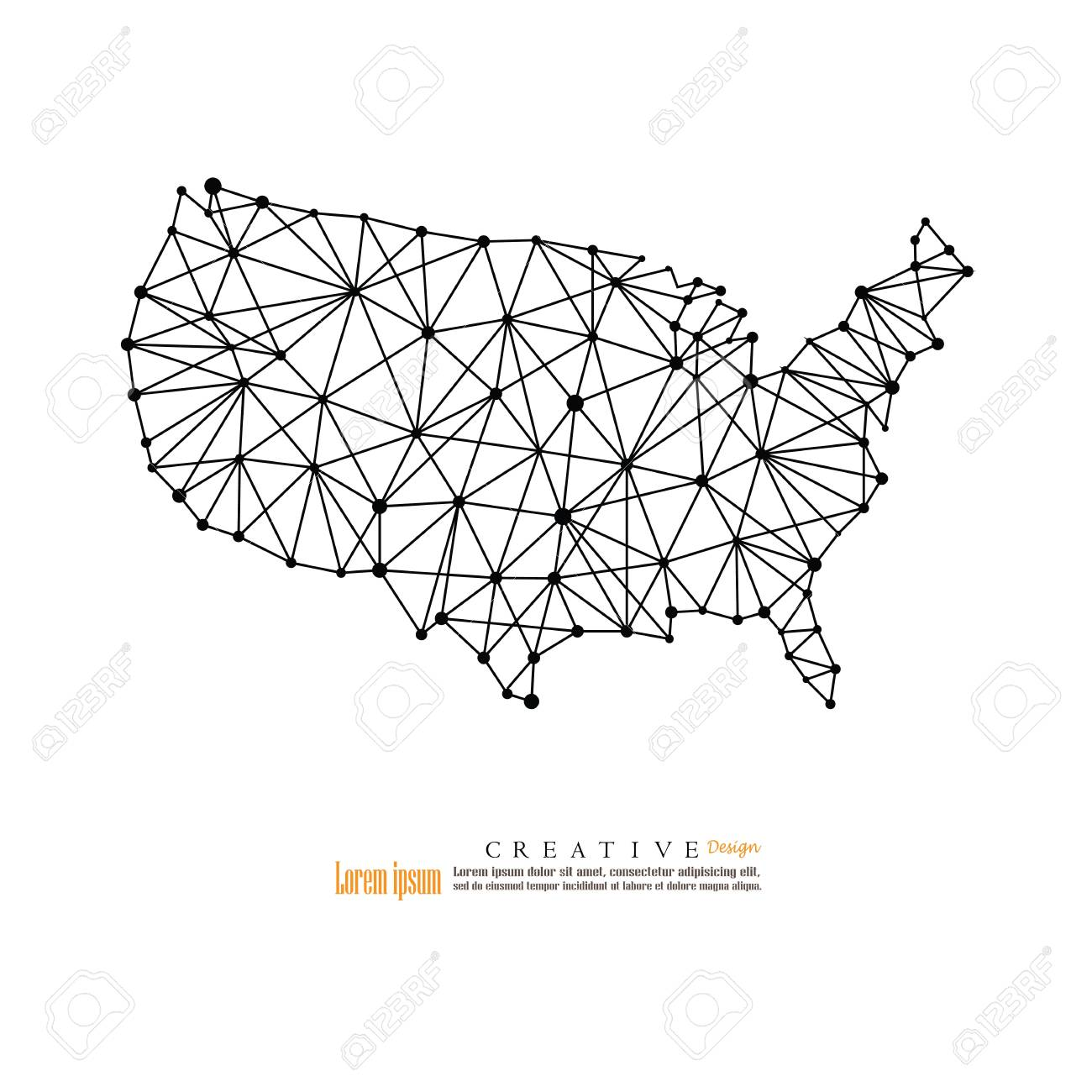 Outline map of The United States of America vector illustration.