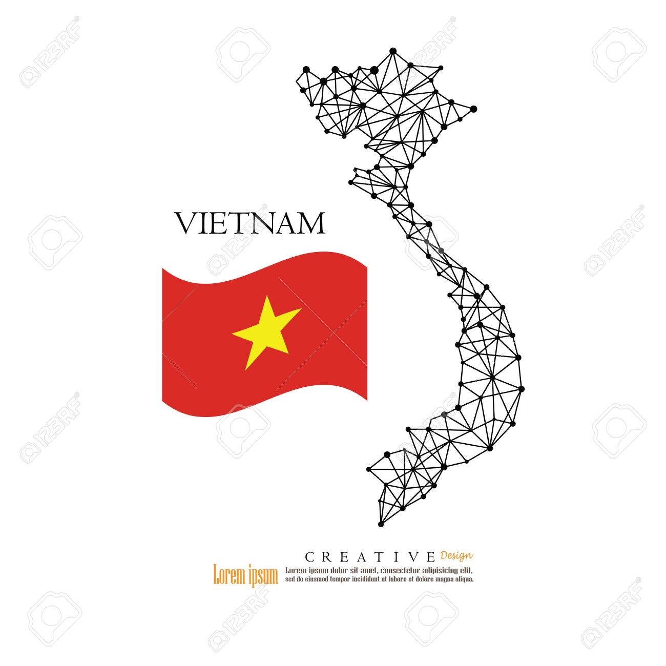 Outline map of Vietnam with national flag