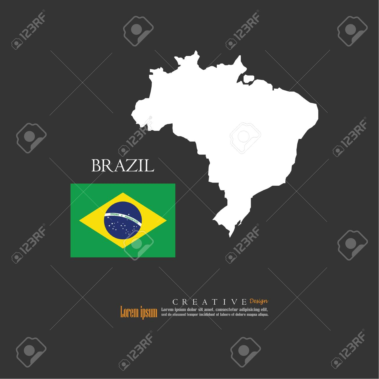 Outline Map Of Brazil With Nation Flag Vector Illustration Royalty