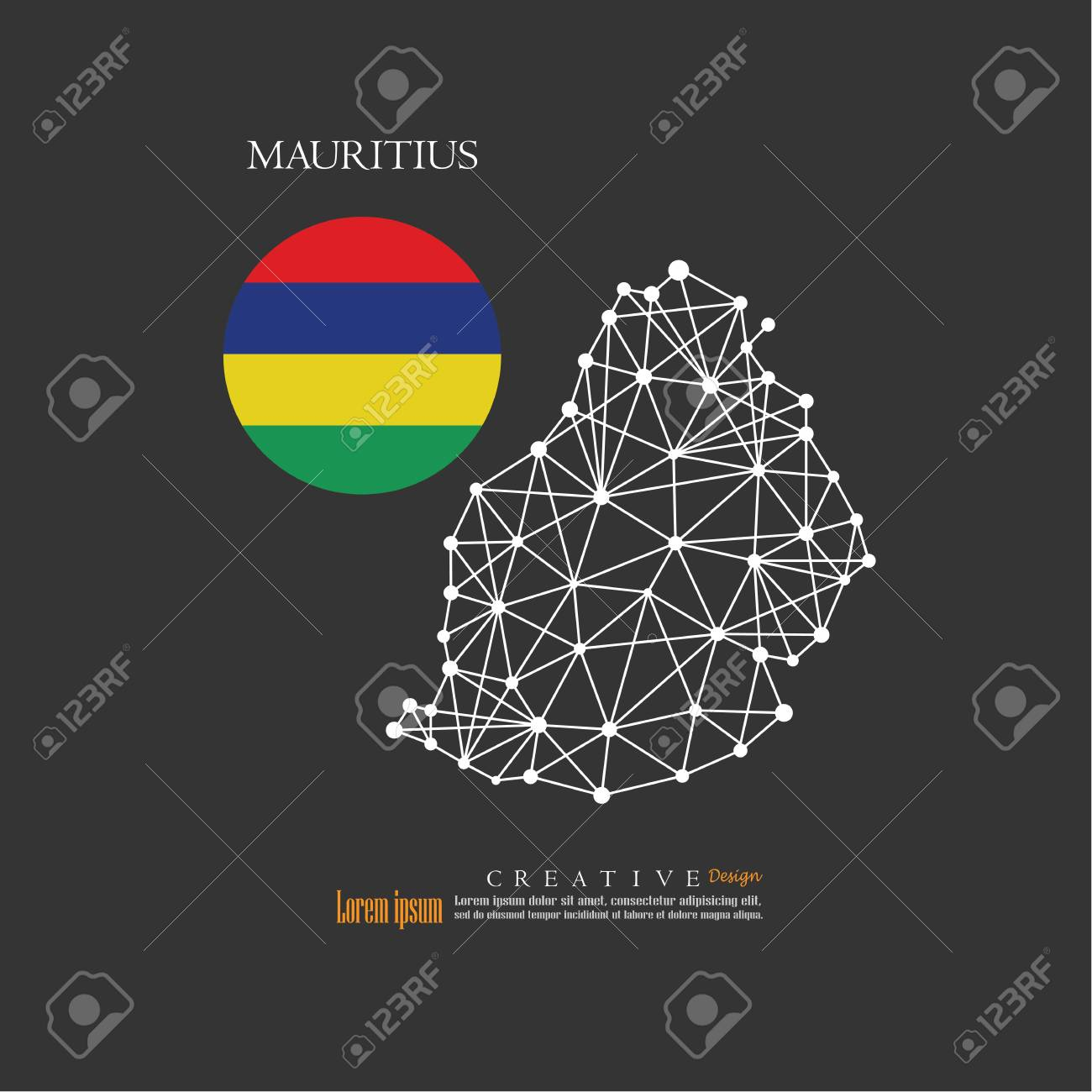 Outline map of Mauritius with nation flag.vector illustration.