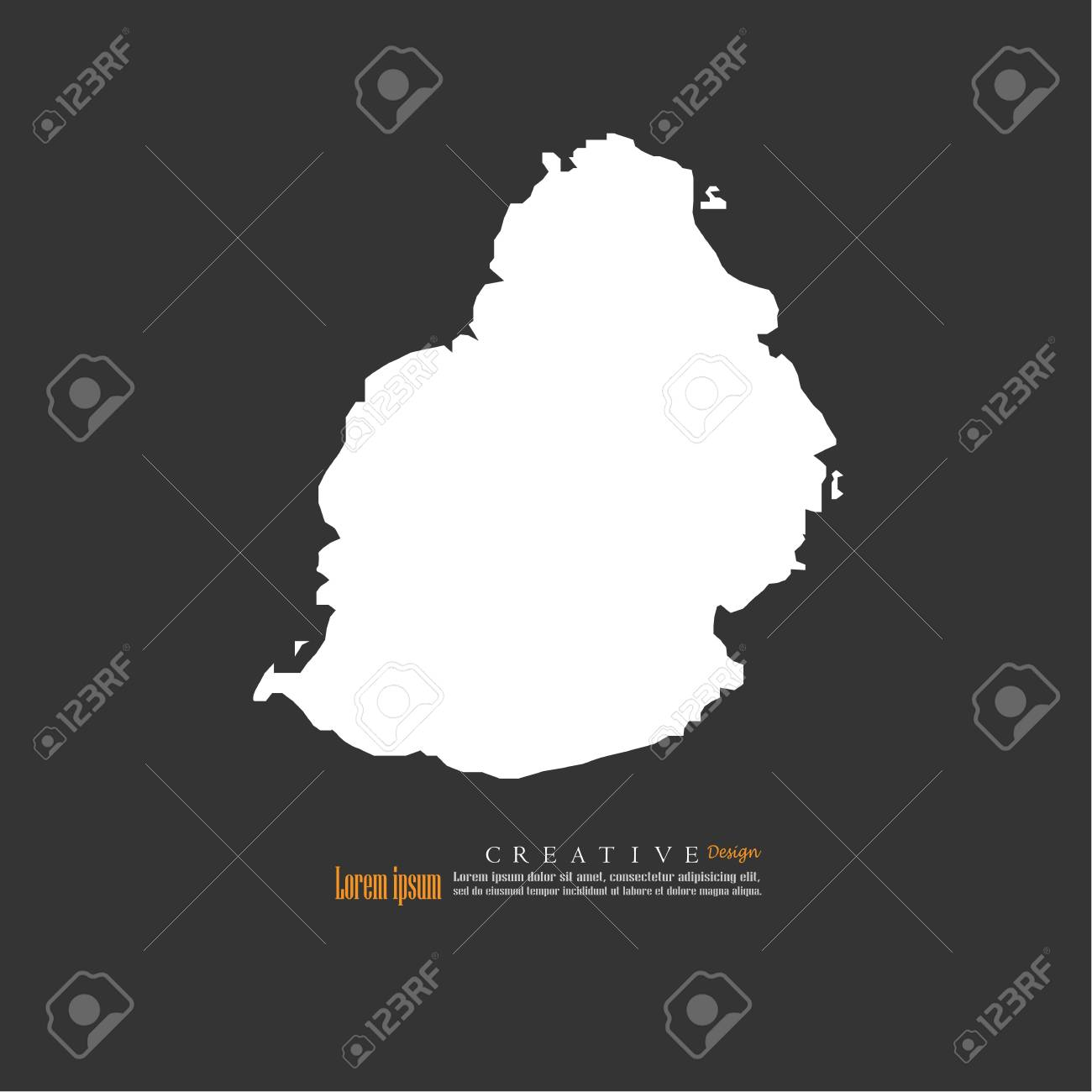 Outline map of Mauritius. vector illustration.