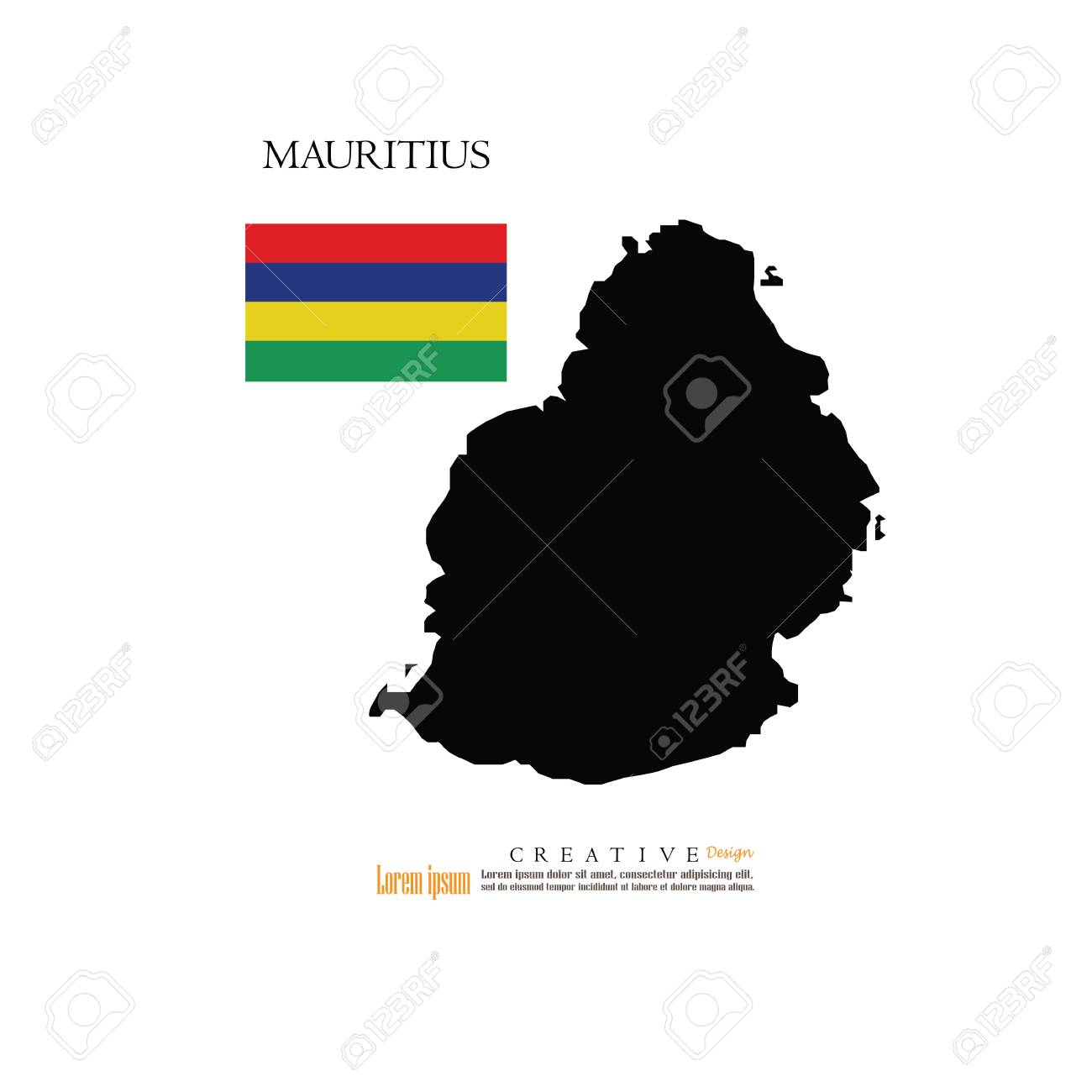 Outline Map Of Mauritius With Nation Flag.vector Illustration ...