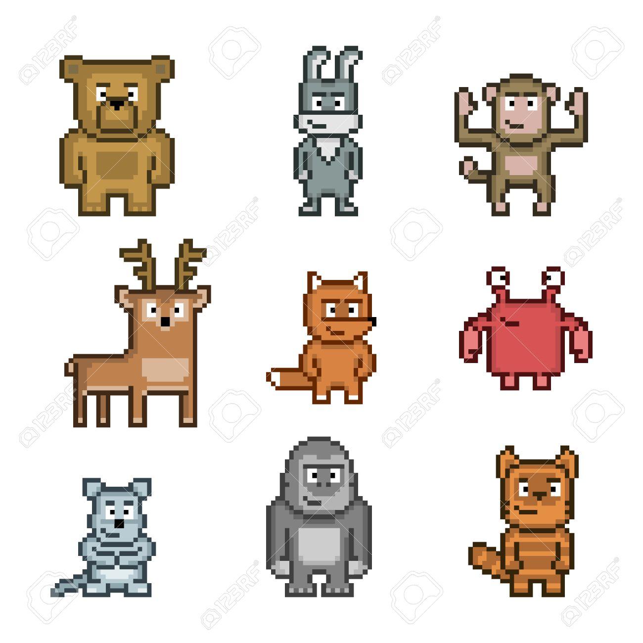 Collection Dart De Pixel Des Animaux Mignons Et Drôles