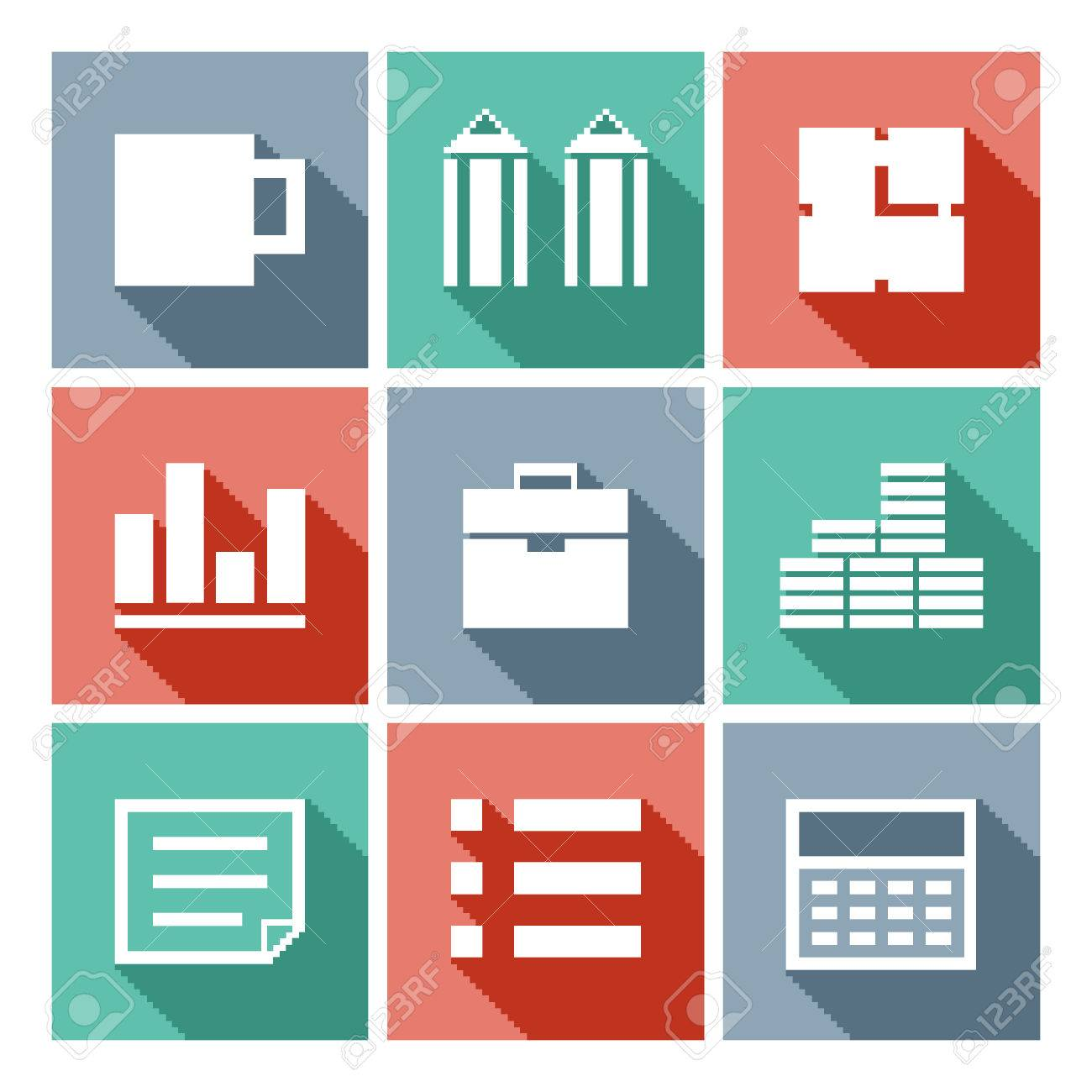 Pixel art business icons, flat vector collection with mug, pencil,