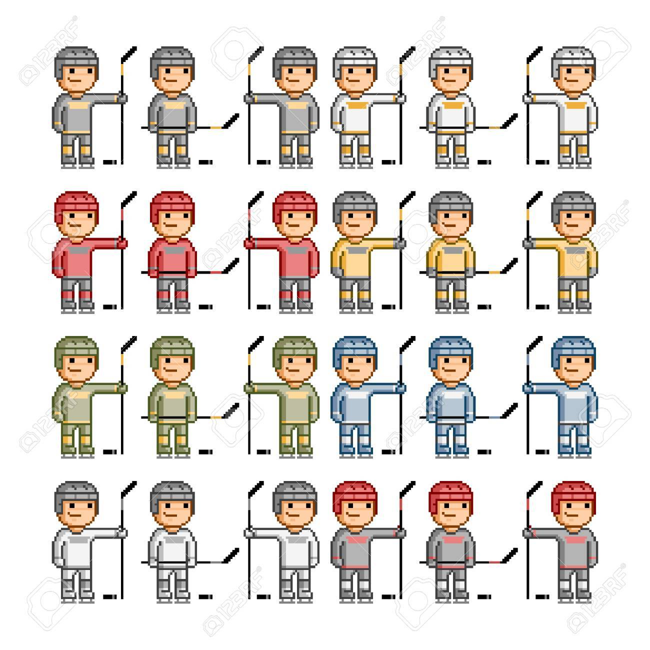 Vector Pixel Art Funny Hockey Players Vector
