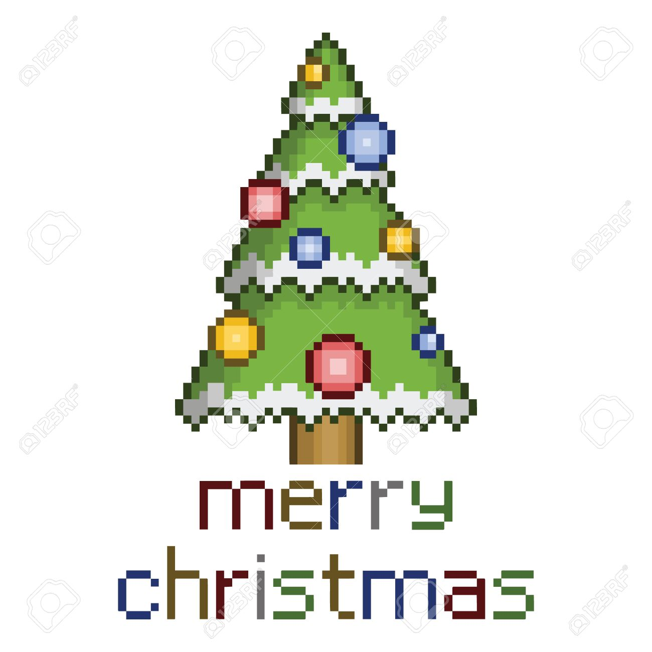 Pixel Art Christmas Tree With Ornaments For Design Royalty Free ...