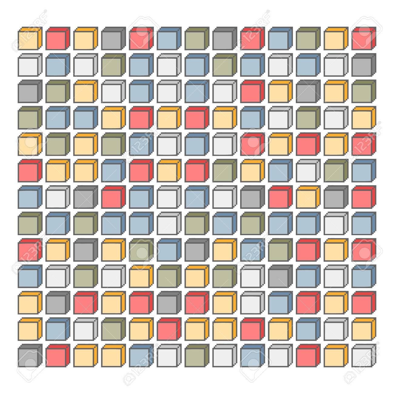 Vector Pixel Art Background Of Colored Cubes For Kids Royalty Free ...