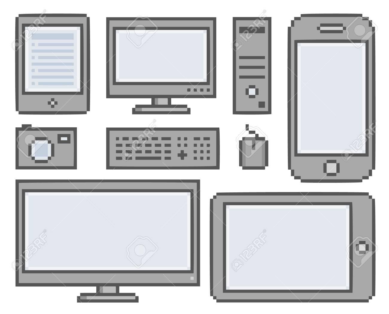 Vector Pixel Smart Phones Tablet Computer And Camera
