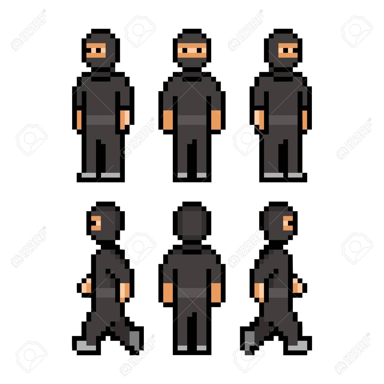 Pixel Art Funny Black Ninja For Games