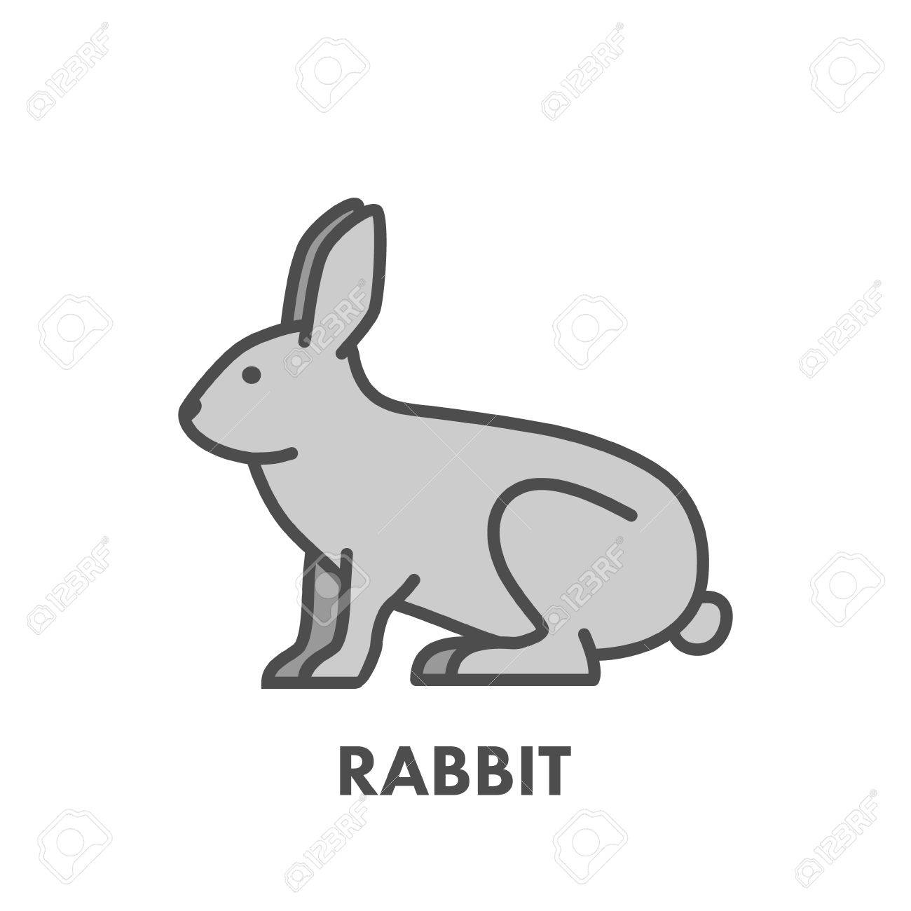 painted line figure of rabbit vector outline symbol for web