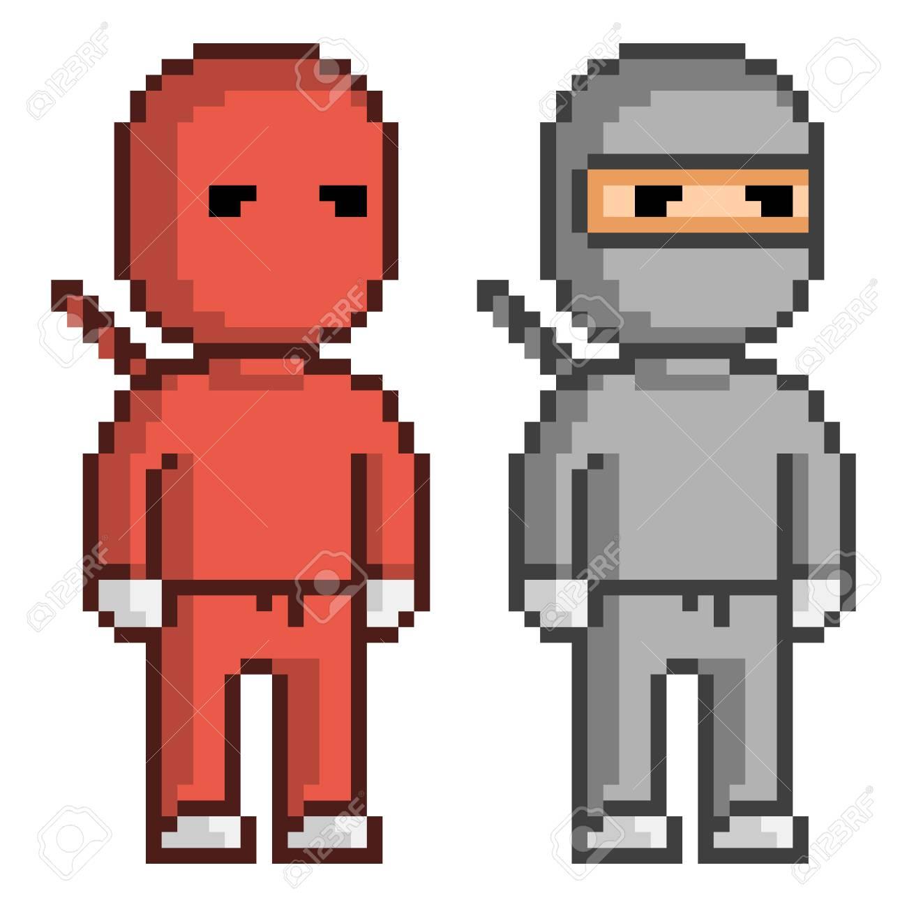 Vector Pixel Art Red And Black Ninja Pixel Units For 8 Bit Video