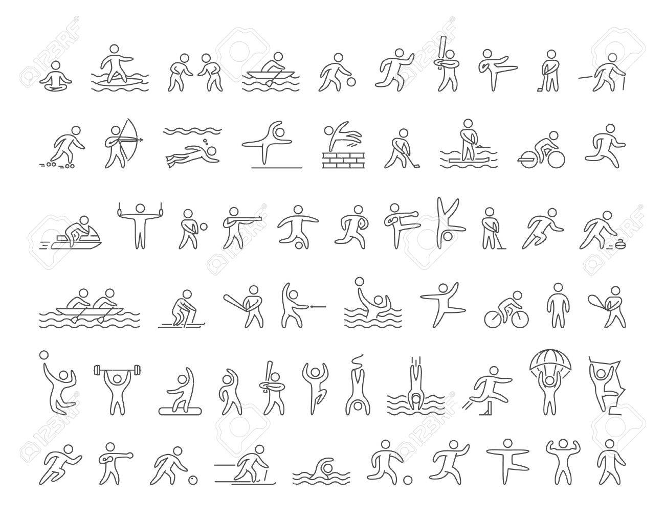 Set of linear shapes popular sports athletes. Vector icons of sportsmen summer and winter sports on white background. - 52617629