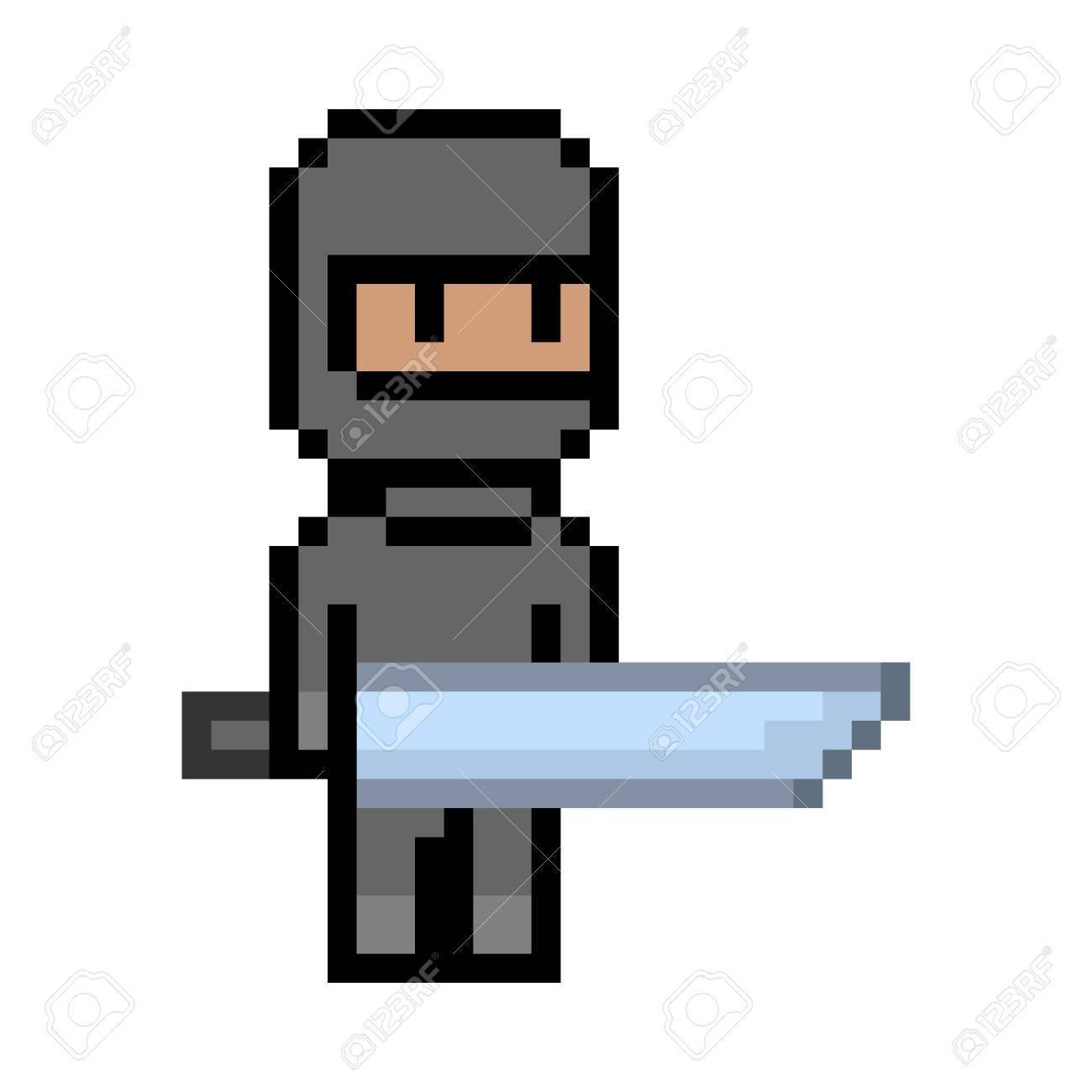 Vector Pixel Art Ninja Noir Unite De Pixel Pour 8 Bits Des Jeux Video Clip Art Libres De Droits Vecteurs Et Illustration Image 64237786
