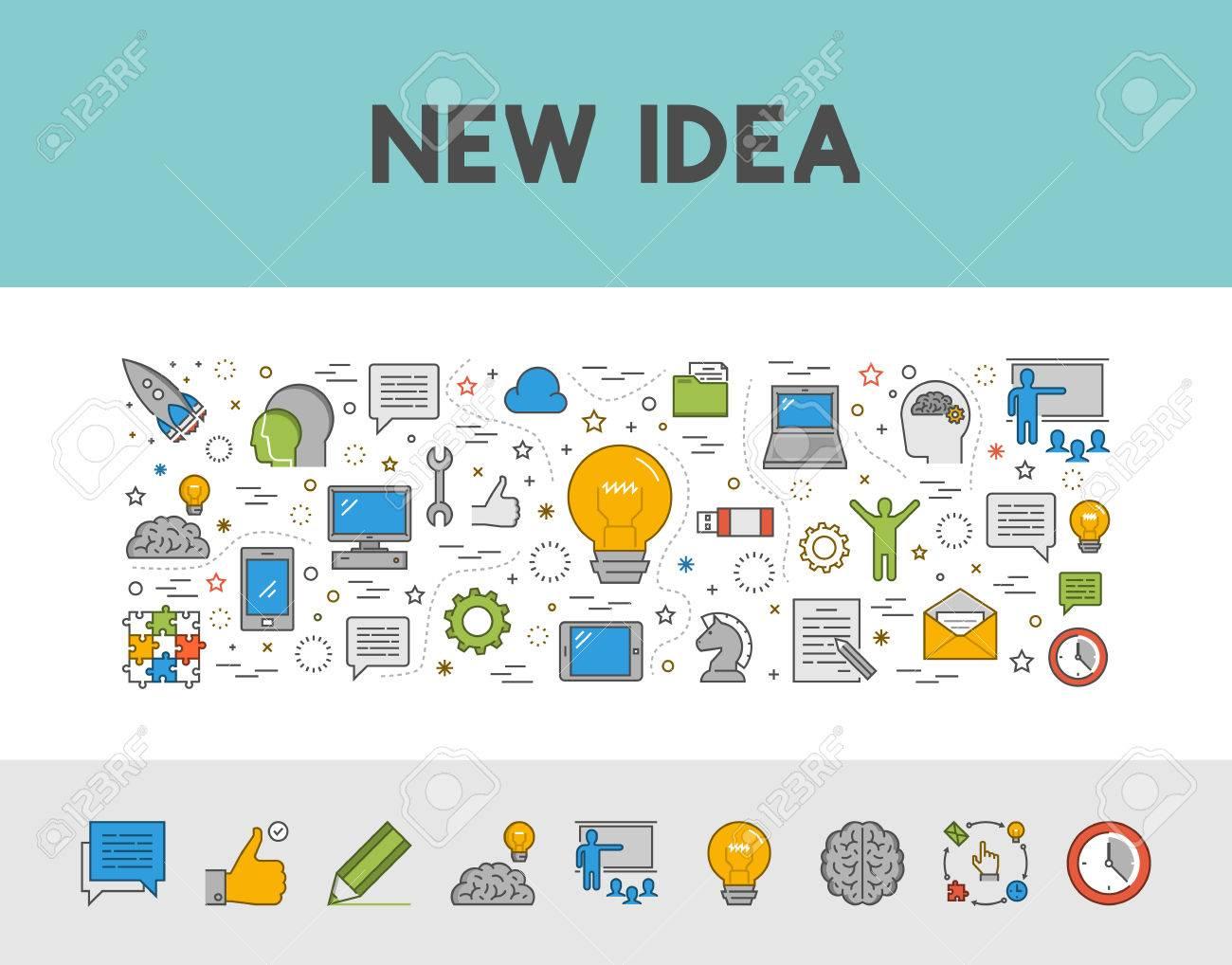 Vector Line-Design-Konzept Web-Banner Für Neue Idee. Moderne Umriss ...