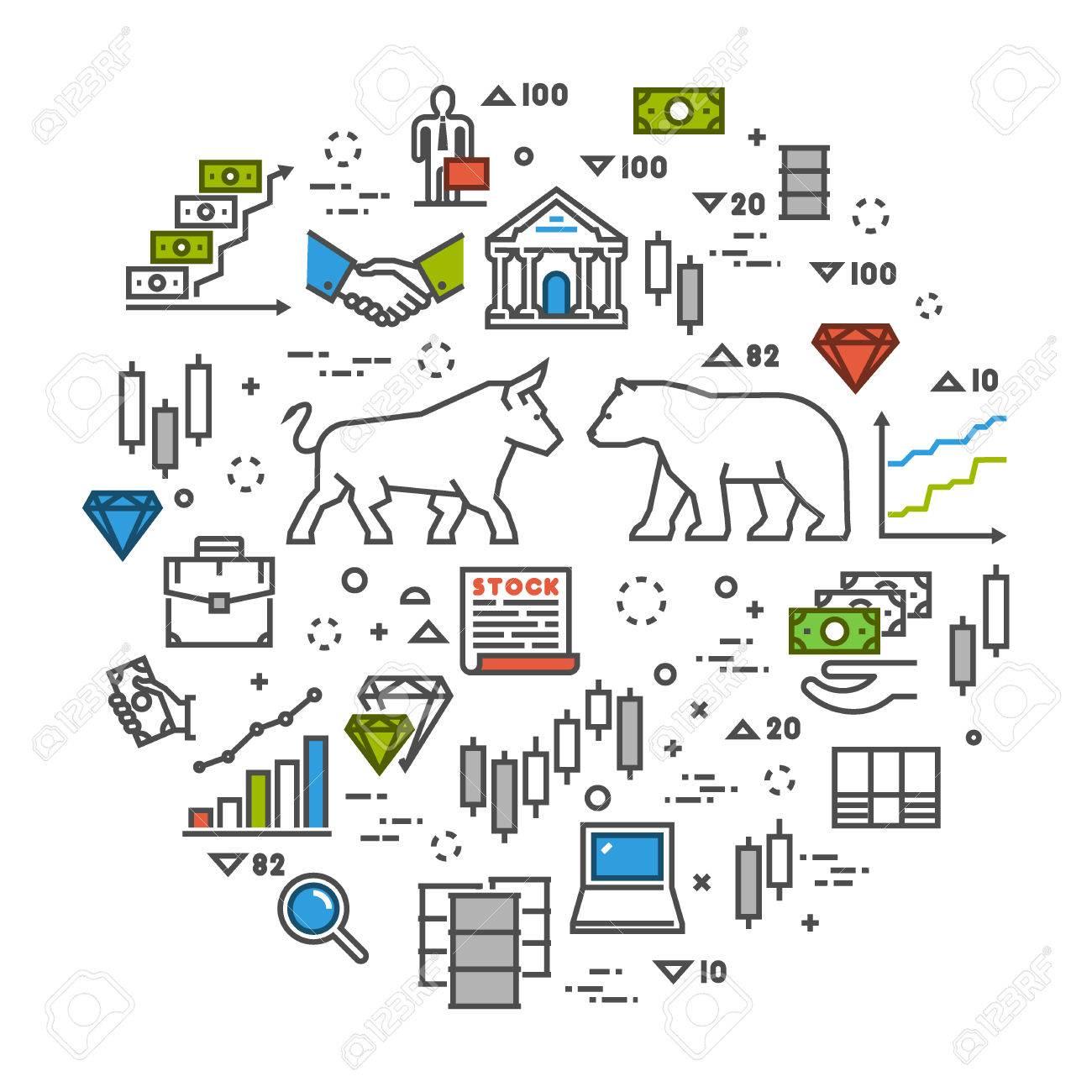 Line Concept Stock Exchange Linear Symbol Commodity Exchange