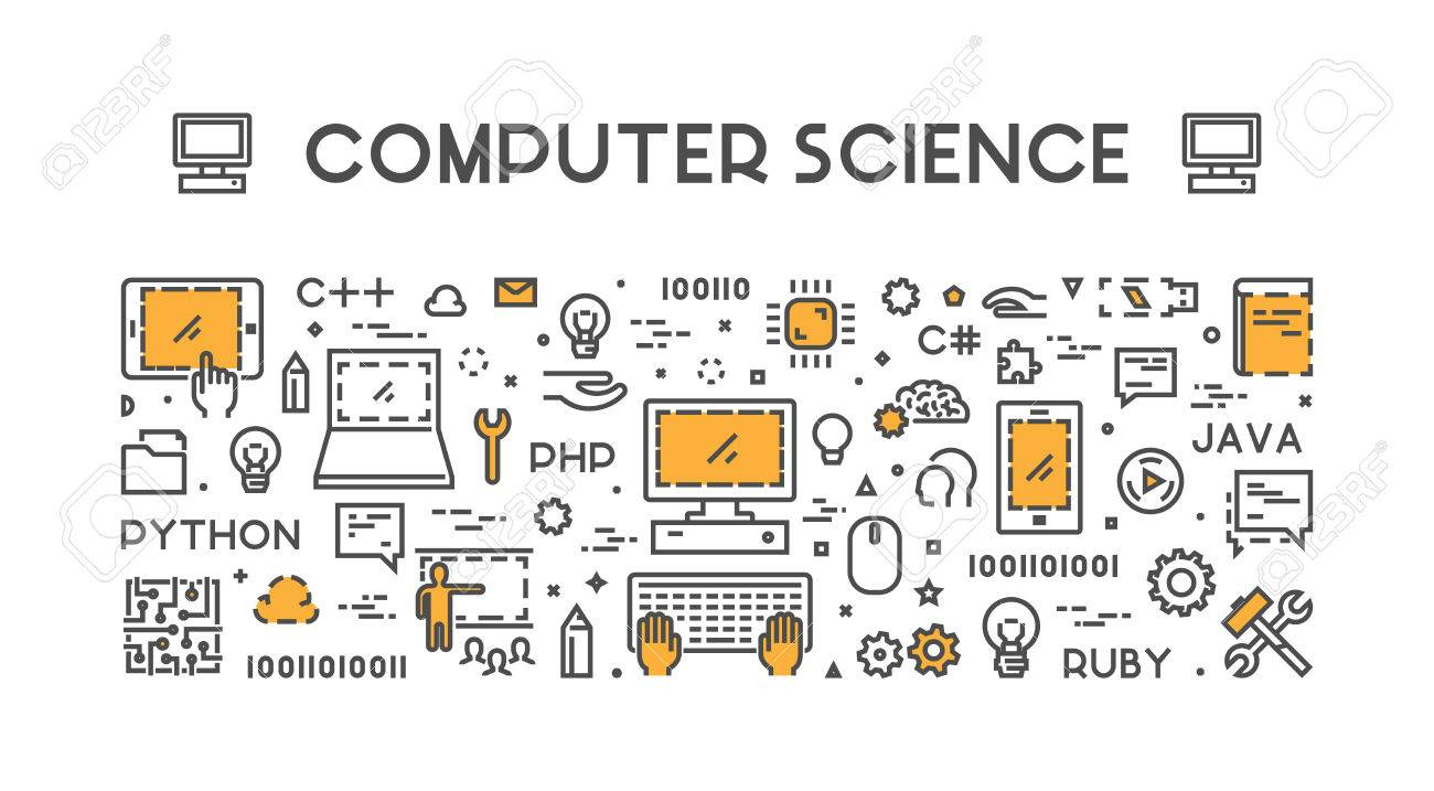 Line Web Concept For Computer Science Banner For Education Royalty Free Cliparts Vectors And Stock Illustration Image 68350813