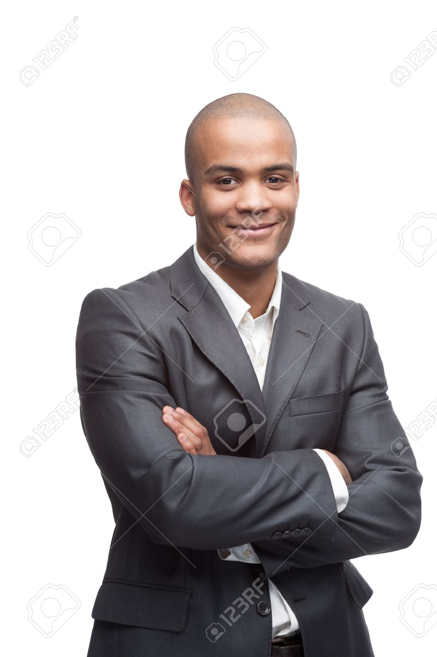 young cheerful black businessman standing isolated on white - 17891125
