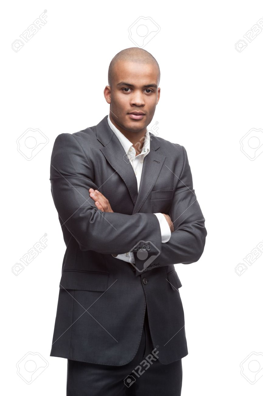 young cheerful black businessman standing isolated on white - 17891111