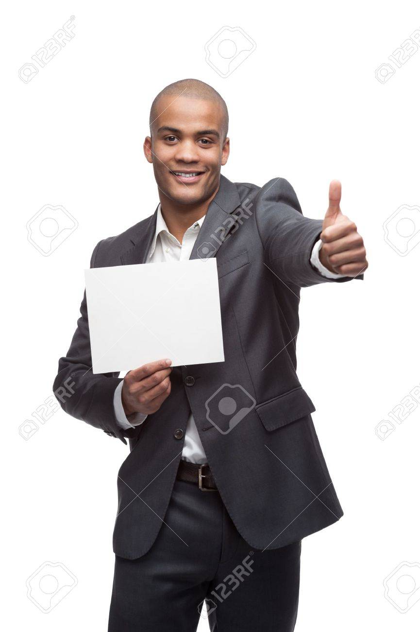 young cheerful black businessman holding sign and showing thumbs up isolated on white - 17891106