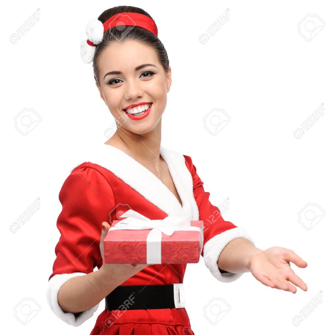 Fröhliche Junge Caucasian Frau In Der Roten Vintage-Kleidung Mit ...