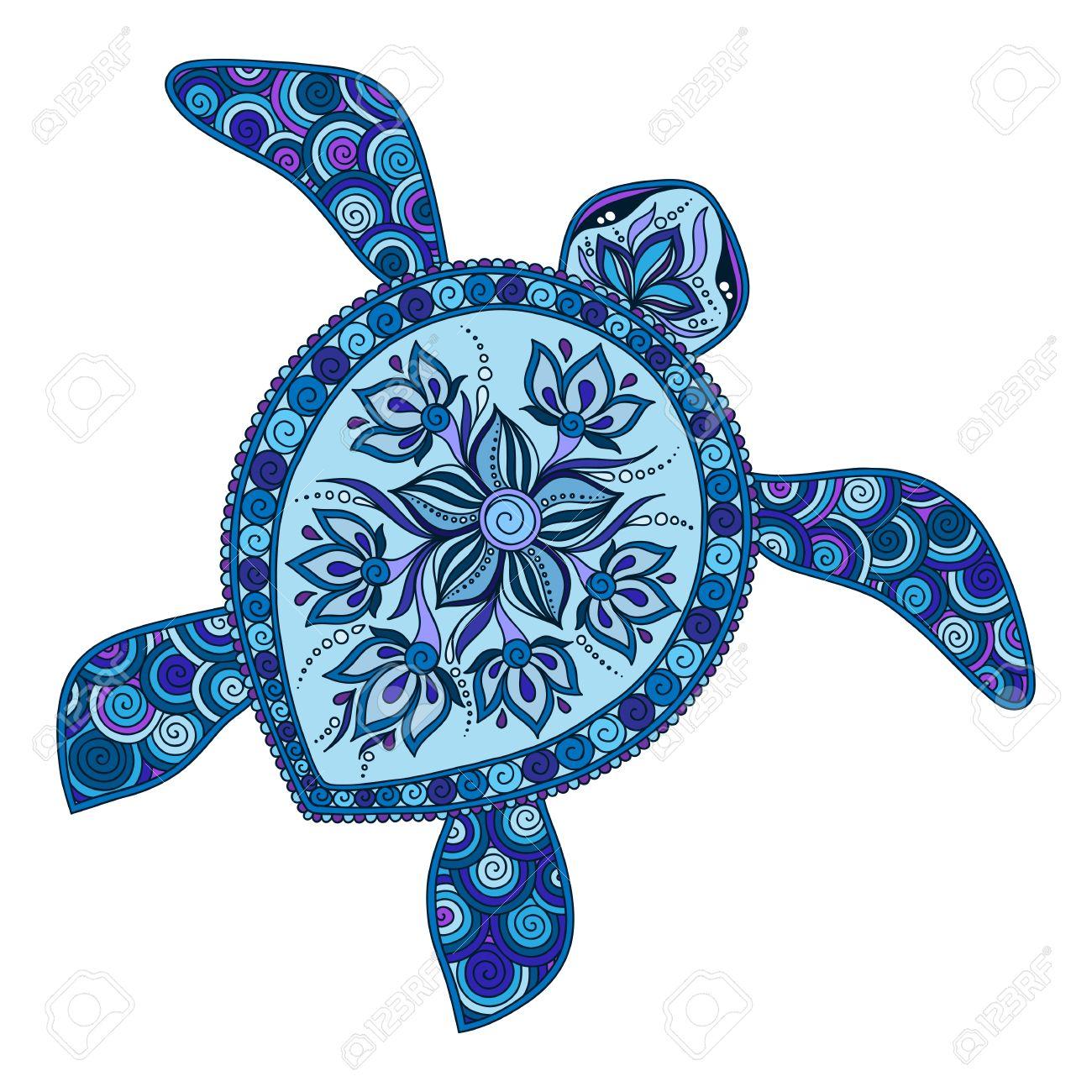 Decoratieve Grafische Schildpad Tattoo Stijl Tribale Totem Dier Vector Illustratie Geïsoleerde Elementen Kant Patroon Indian Mehendi Stijl