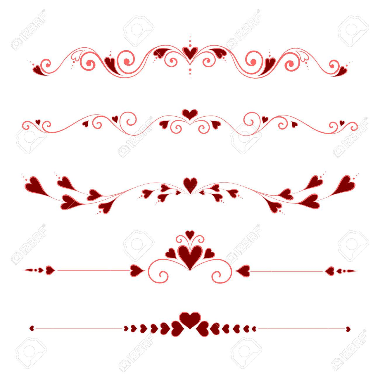 Set Calligraphic Valentine's Day Design Elements - 46940974