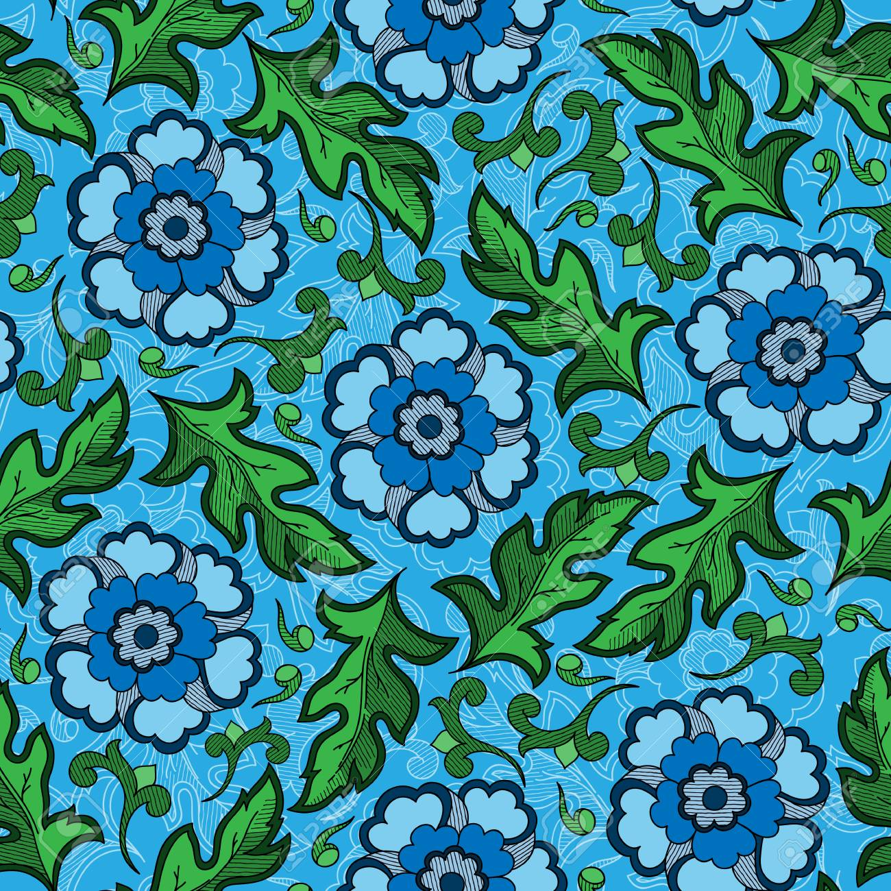 Wallpaper Seamless Vintage Flower Pattern Royalty Free Cliparts Vectors And Stock Illustration Image
