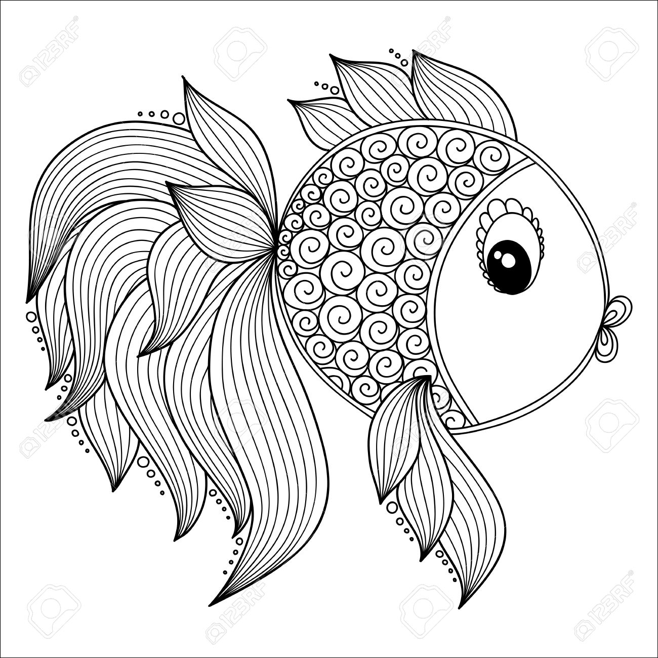 Pattern for coloring book. Coloring book pages for kids and adults.Vector Cute Cartoon Fish. Henna Mehndi Tattoo Style Doodles - 47644665