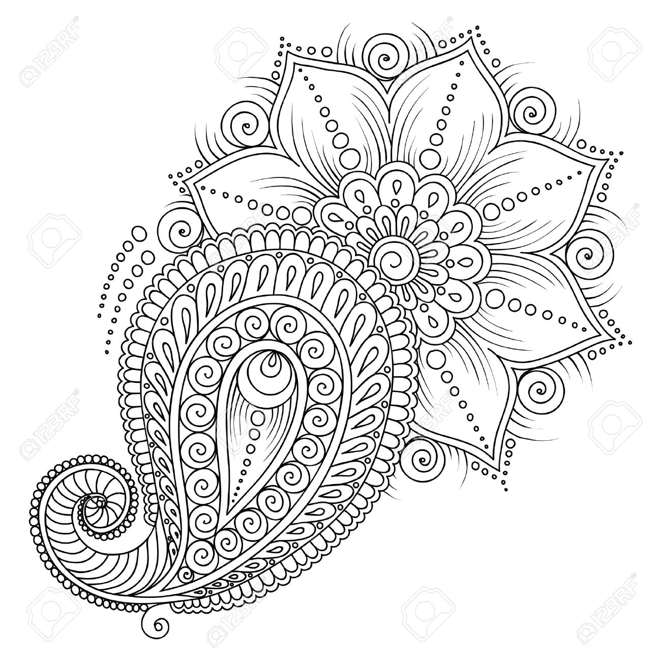 Pattern for coloring book. Coloring book pages for kids and adults.Vector abstract floral elements in indian style. Henna Mehndi Tattoo Style Doodles - 47645515