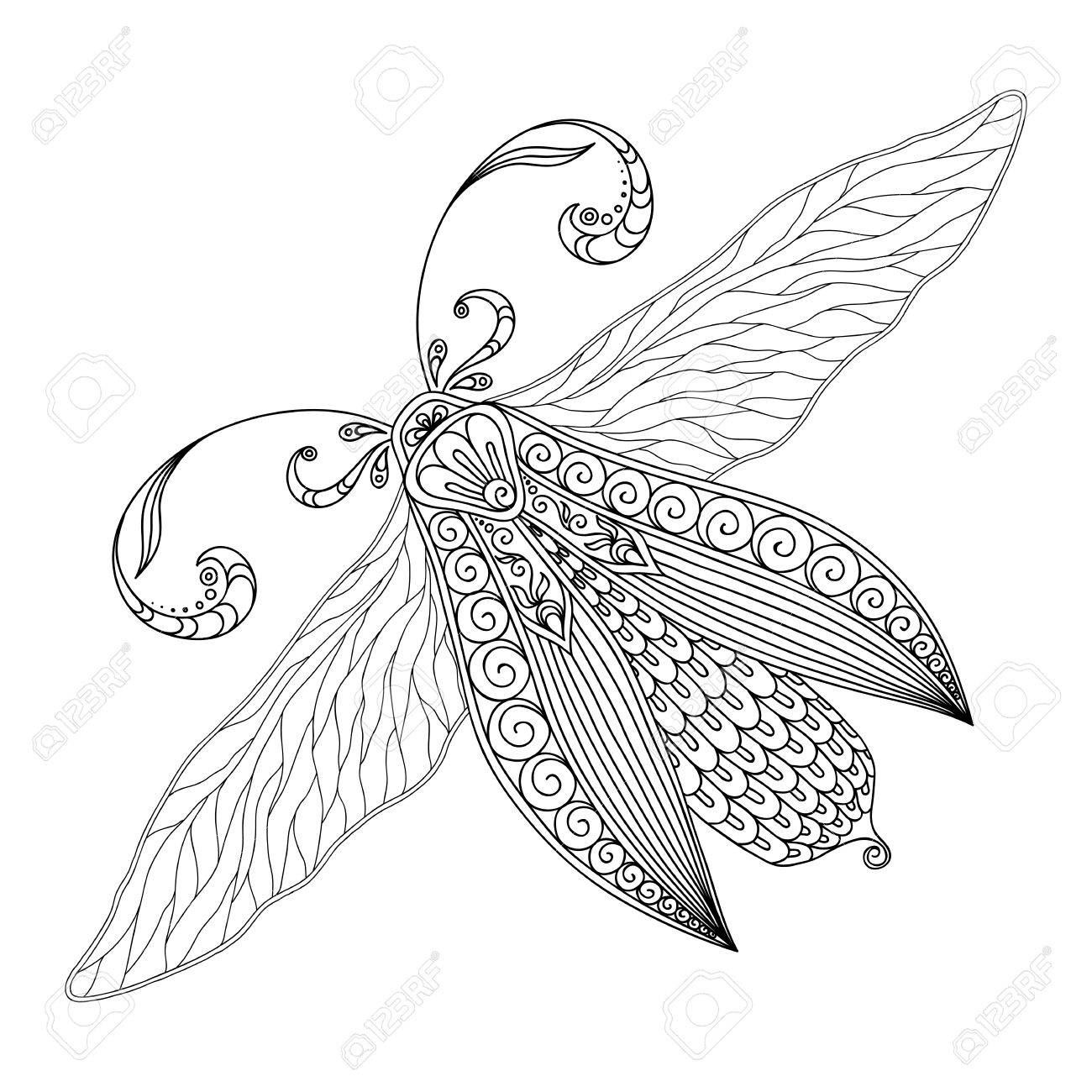 Pattern for coloring book. Henna Mehendi Tattoo Style Doodles butterfly. Design element.. Hand Drawn vector illustration isolated on white background.Coloring book pages for kids and adults. - 47645766