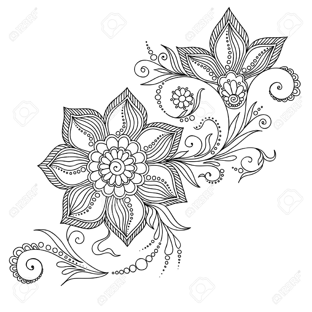 Pattern for coloring book. Coloring book pages for kids and adults.Vector abstract floral elements in indian style. Henna Mehndi Tattoo Style Doodles - 47645769