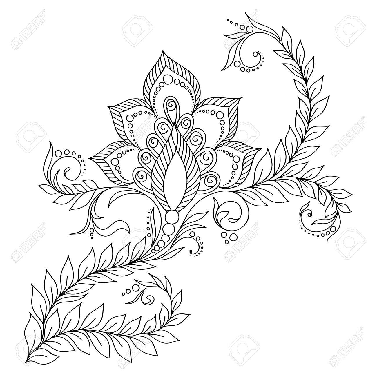 Pattern for coloring book. Coloring book pages for kids and adults.Vector abstract floral elements in indian style. Henna Mehndi Tattoo Style Doodles - 47645933