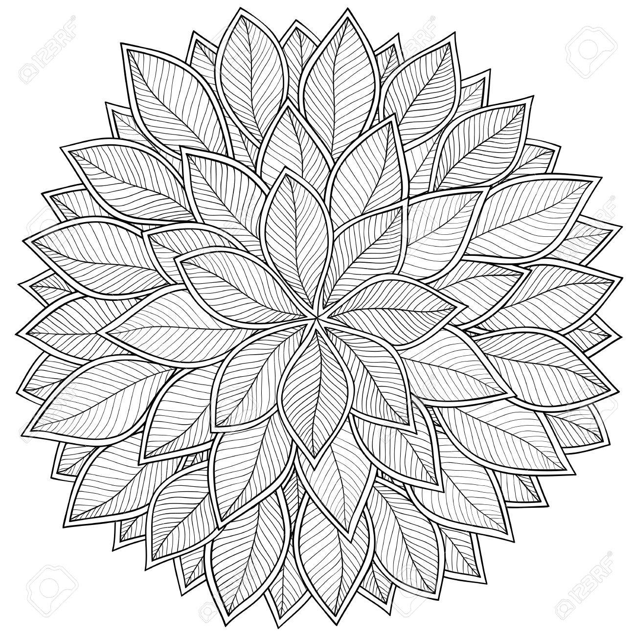 Pattern For Coloring Book. Leaves. Ethnic, Floral, Retro, Doodle ...