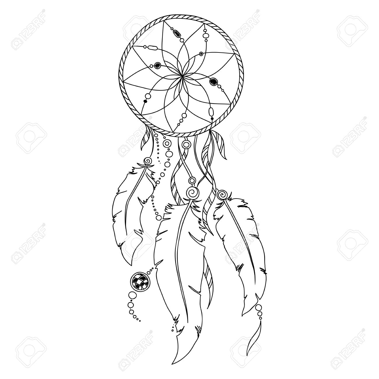 803d76f65 ... Mehndi Tattoo Style Doodles. Pattern for coloring book. Coloring book  pages for kids and adults. Indian Dream catcher